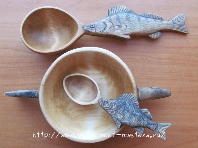 деревянный резной набор в подарок рыбаку