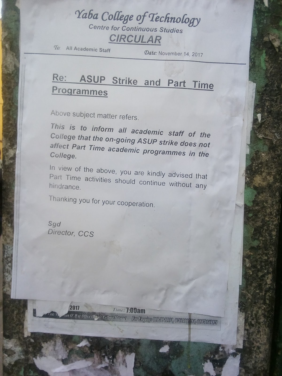 Yabatech: ASUP strike does not affect Part-Time Programmes.