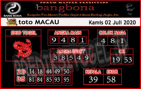 Prediksi Bangbona Toto Macau Kamis 02 Juli 2020