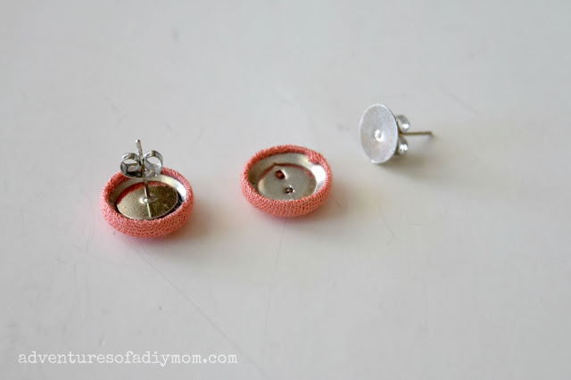 Fabric Covered Button Earrings and Bracelet