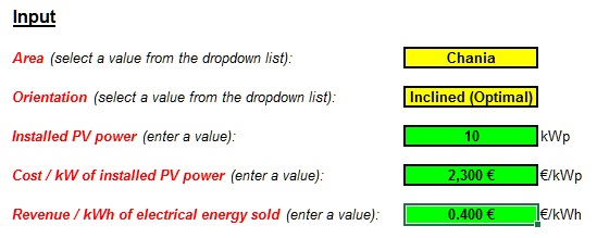 Photovoltaic System Calculator For Greece - Input Data