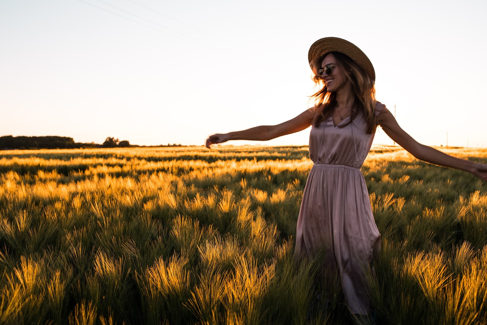 girl summer fun sunset flower field