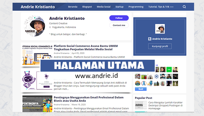 Halaman Utama atau Halaman Depan Blog andrieid