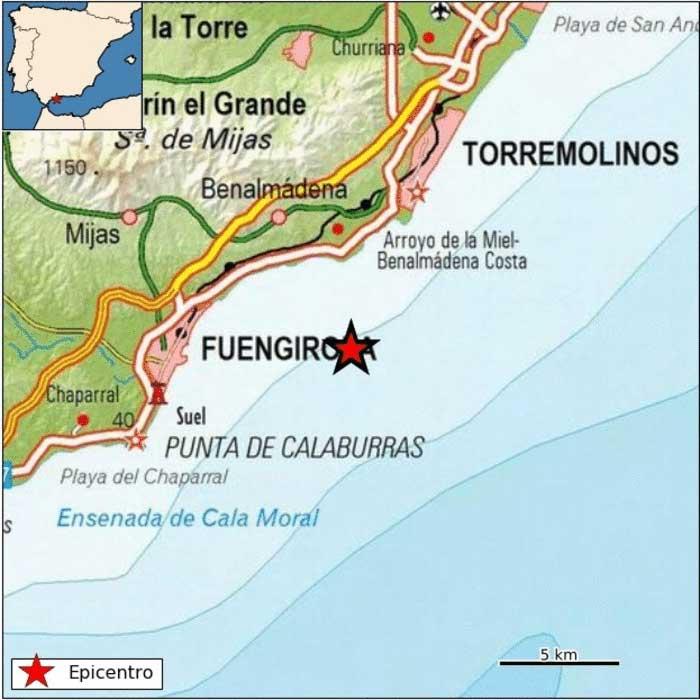 terremoto en la costa de Málaga (Benalmádema) de magnitud 4, 1 grados