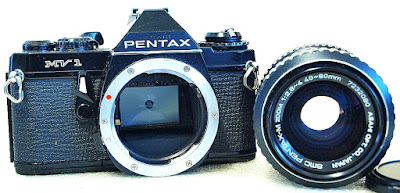 Pentax MV1 35mm SLR (Black) Body #866, SMC Pentax-M 40-80mm 1:2.8~4 #080