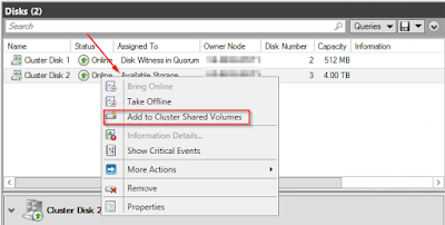 Converting the data disk to a Cluster Shared Volume