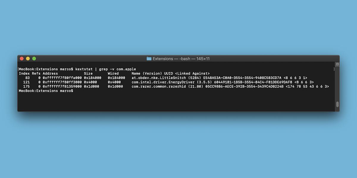 Come visualizzare tutte le estensioni del kernel di terze parti