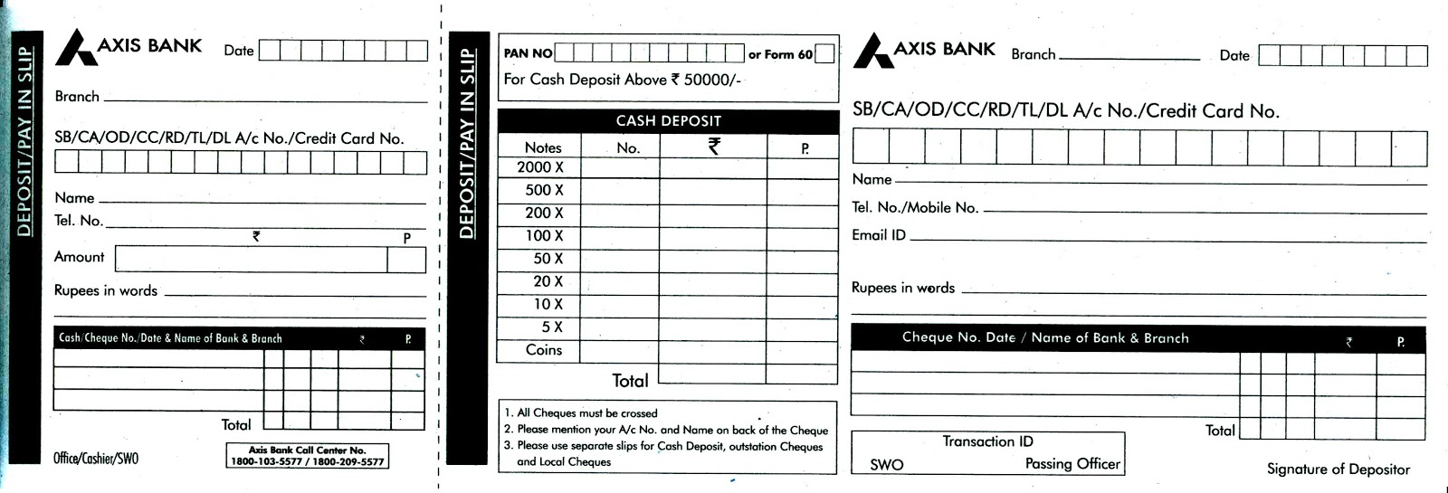 axis bank deposit form download  AXIS BANK CHEQUE AND CASH DEPOSIT / PAY IN SLIP ...