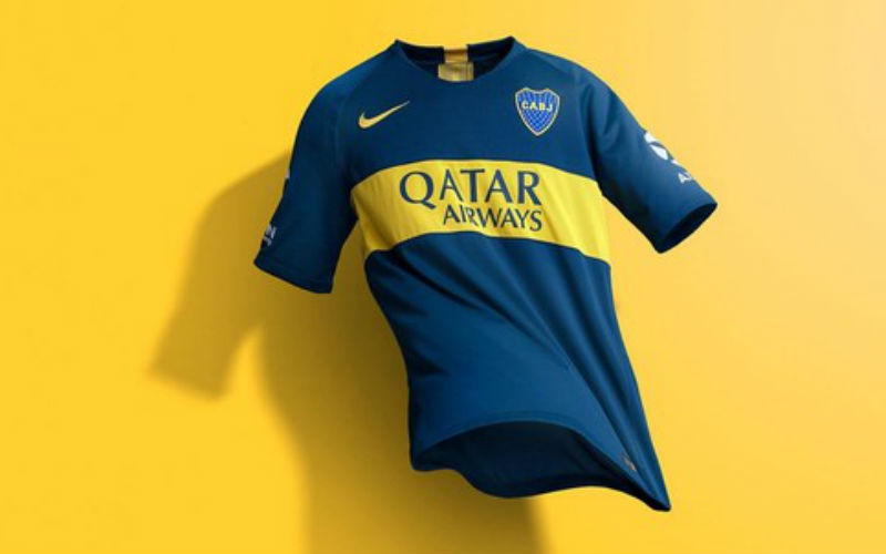 Boca Juniors Jersey Home 2018/2019 with Qatar Airways logo