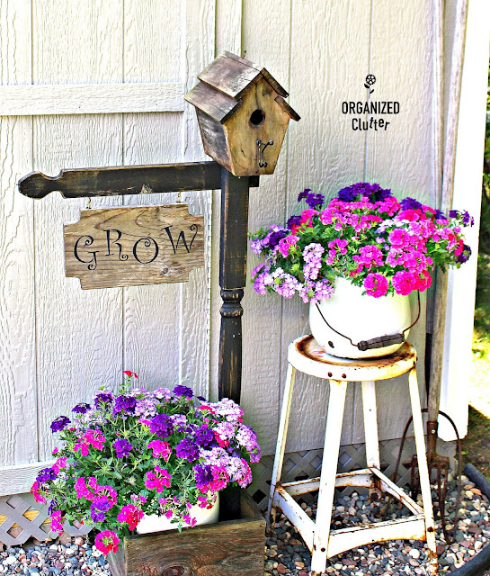 A Junk Garden Makeover for a Dated Birdhouse Planter organizedclutter.net