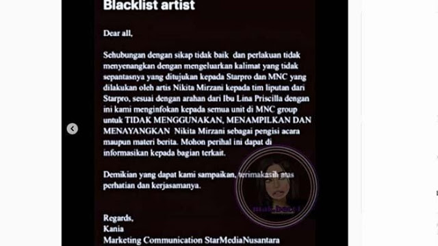 Sejumlah Stasiun TV Blacklist Nikita Mirzani Lantaran Dituding Beperilaku Tidak Baik