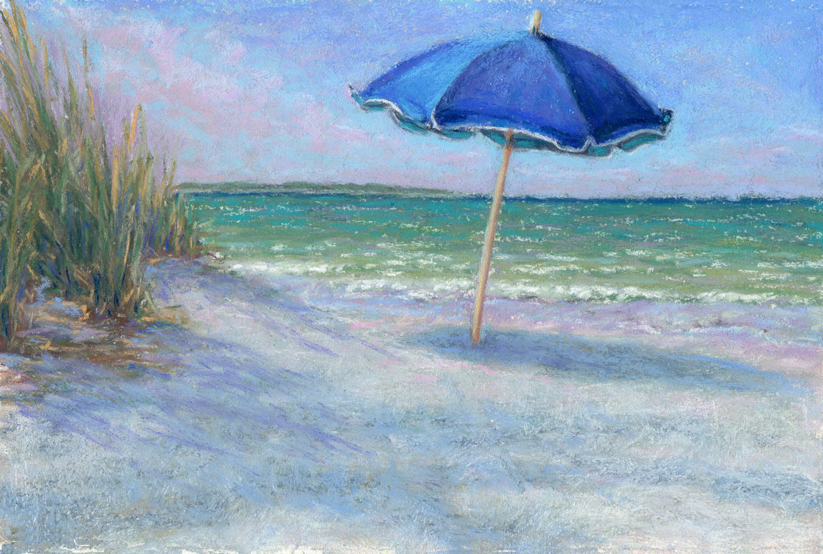 Beach chair with umbrella painting - Vacation Beach Umbrella Coastal Art By Poucher