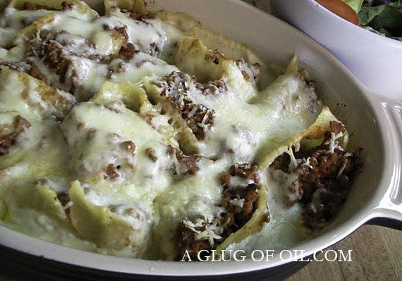 Conchiglioni Rigati Stuffed with Bolognese