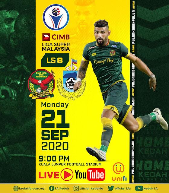 Live Streaming Sabah vs Kedah Liga Super 21.9.2020