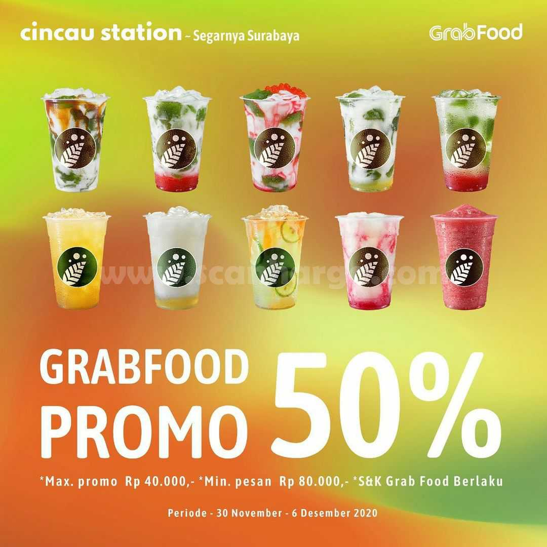 Cincau Station Promo Diskon 50% via GRABFOOD
