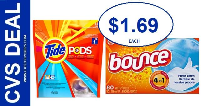 CVS Deal on Tide Pods & Bounce $1.69 - 6/23-6/29
