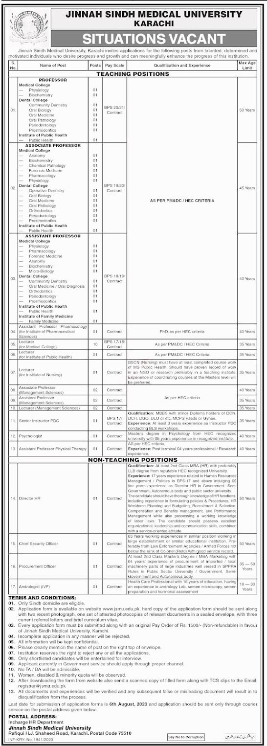 Jinnah Medical University Karachi Sindh Jobs 2020