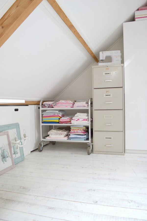 Trolley of fabrics in attic craft room