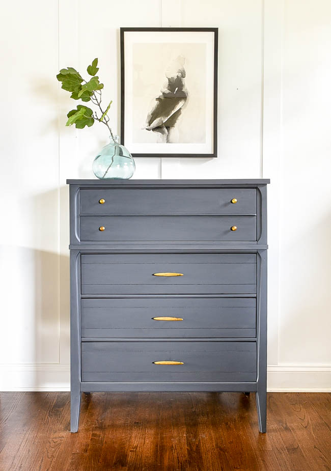 Gray painted MCM dresser