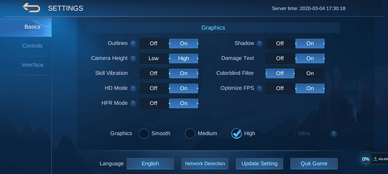 Mobile Legends game settings