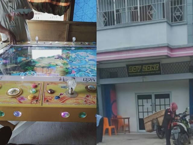Keterangan Foto : Boy Zone kepunyaan berinisial ANS dan Gelper didalam bangunan ruko beroperasi aman di Desa Tanjung Datuk, dekat Jalan Raya Lintas Lubuk Muda - Kec. Siak Kecil.