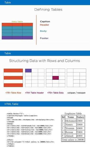 القوائم المنسدله والجداول في لغة HTML