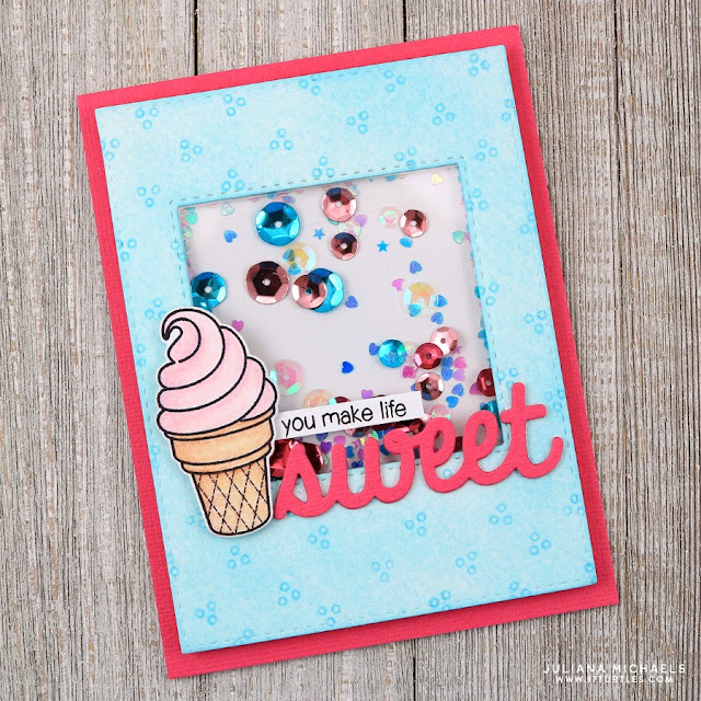 Sunny Studio Stamps: Sweet Shoppe Ice Cream Cone Shaker Card by Juliana Michaels