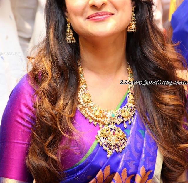 Pragya Jaiswal in Peacock Pachi Necklace