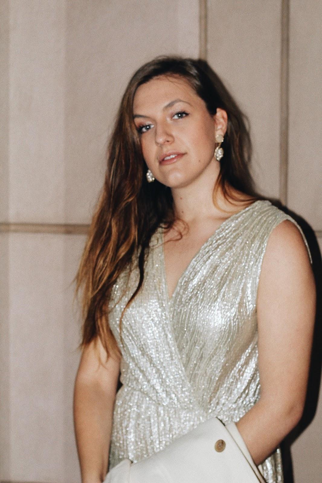 glitter golden evening gown