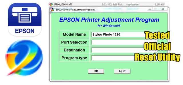Epson Stylus Photo 1290 Adjustment program (Reset Utility) Free Download