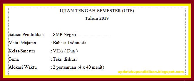Soal Uts Pts Bahasa Indonesia Kelas 7 Semester 2 Tahun 2019 2020 Update Info Pendidikan