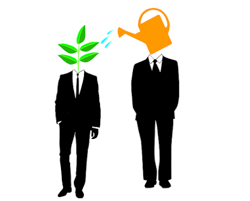 Mentor, illustrated as watering can, watering mentee, illustrated as plant.