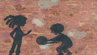 Shadows play basketball. Sesame Street Preschool is Cool Making Friends