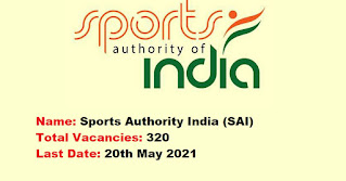 Sports Authority India Recruitment - 320 Coach, Assistant Coach - Last Date: 20th May 2021