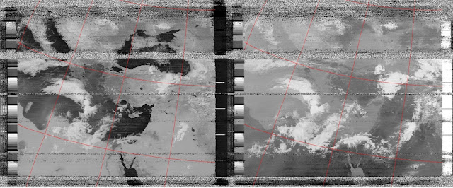 Raw reception 26 of May 2015 of NOAA 19. Note the big cloud approaching from the left. On the right is the infrared version of the picture.