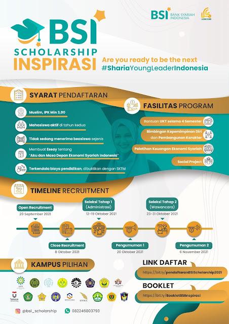 Bank Syariah Indonesia (BSI) Scholarship Inspirasi Tahun 2021 Deadline 8 Oktober 2021