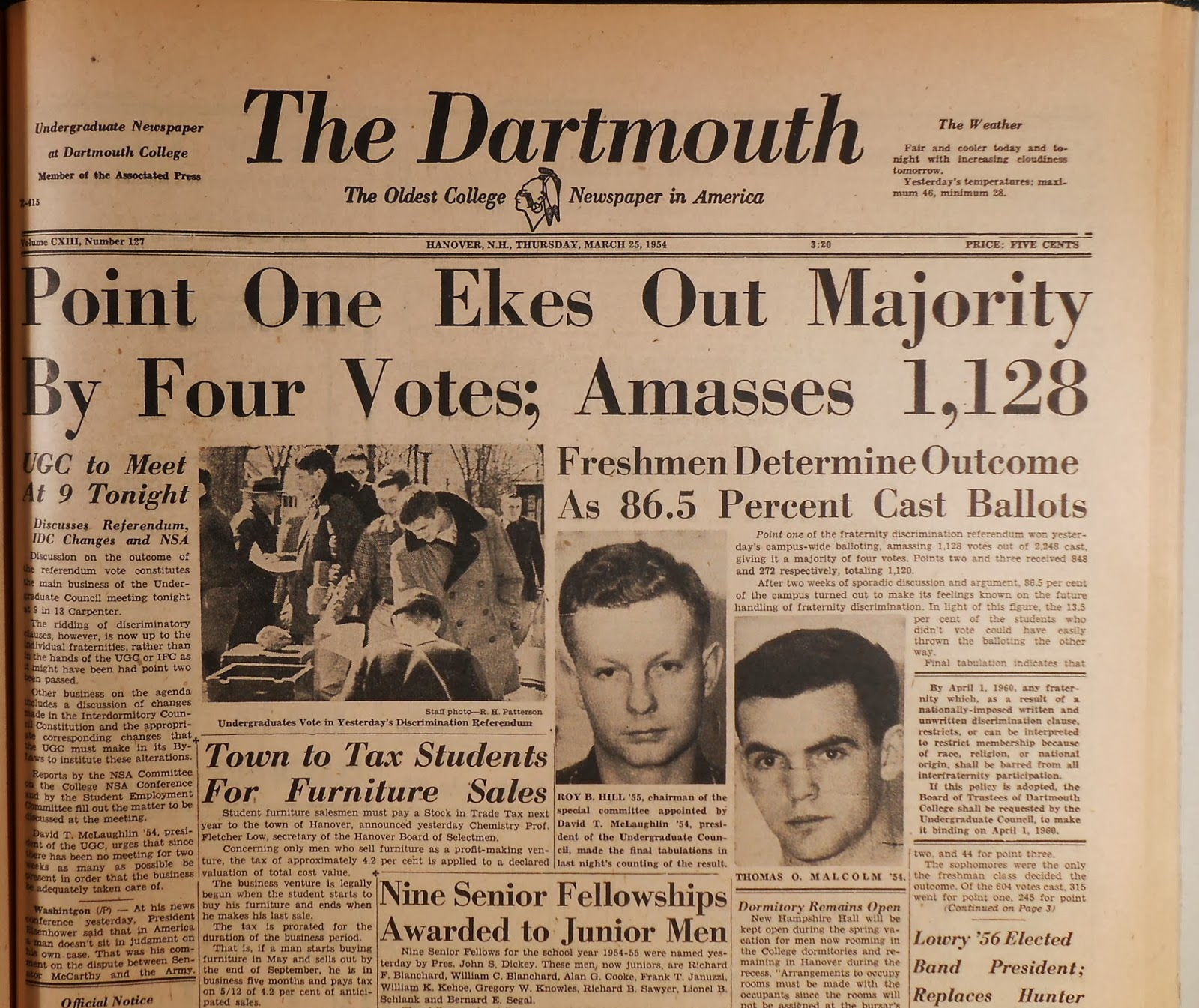 "A copy of The Dartmouth, with the heading ""Point One Ekes Out Majority By Four Votes; Amasses 1,128."""