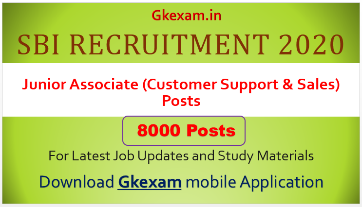 8000 Clerk & Junior Associate SBI Recruitment 2020