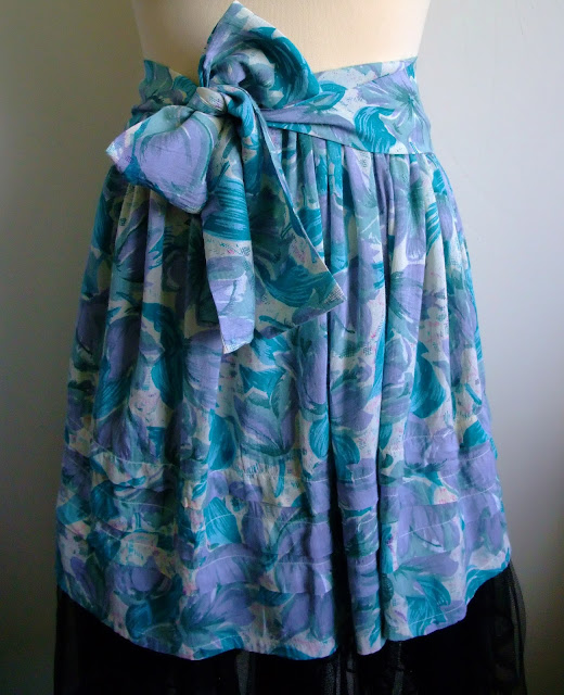 upcycled 90s skirt with button & bow sash by karen vallerius