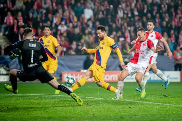 برشلونة يفوز على سلافيا براغ التشيكي بهدفين مقابل هدف