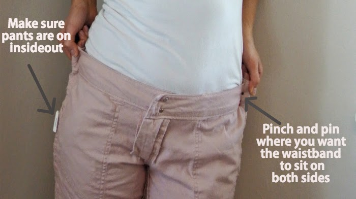 How to fix pants that are too big in the waistband. Super easy.