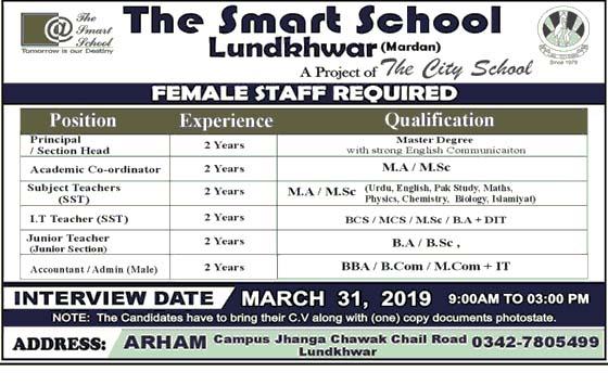 Jobs in The Smart School Mardan 19 March 2019