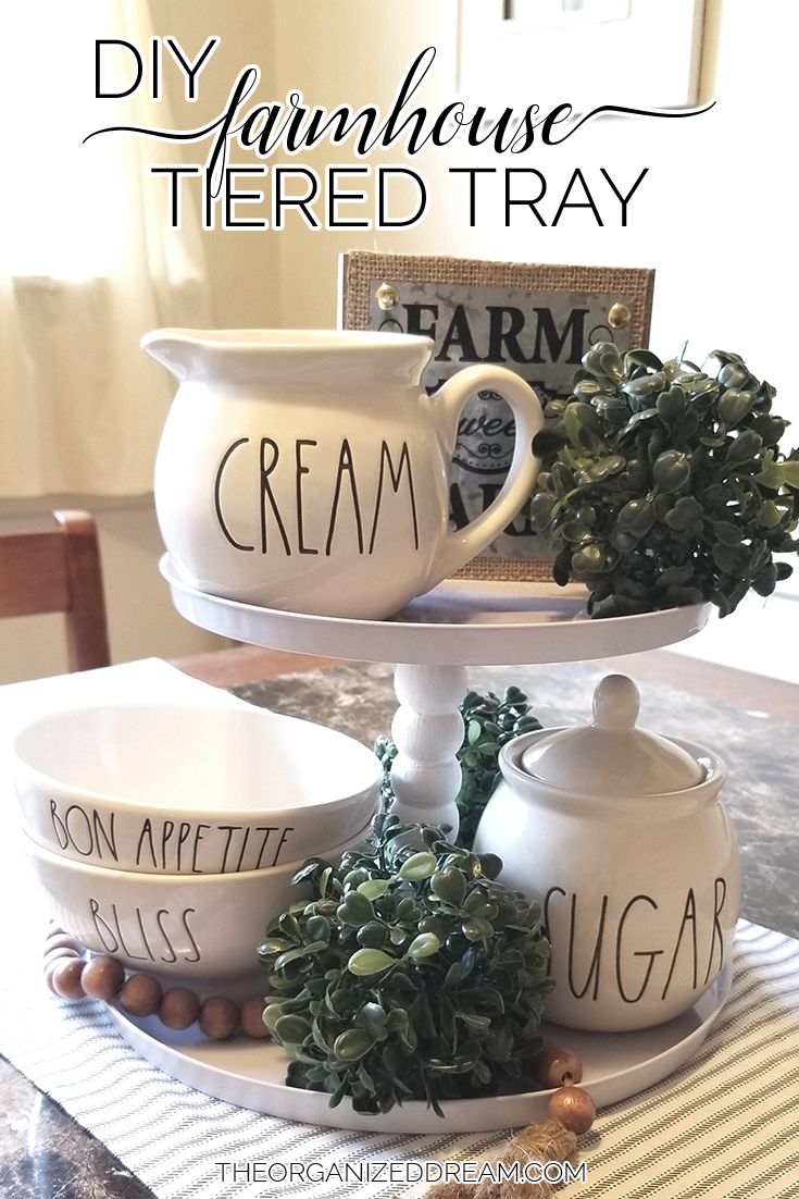 Make your own farmhouse-inspired tiered tray! #tutorial #diyproject #farmhousestyle