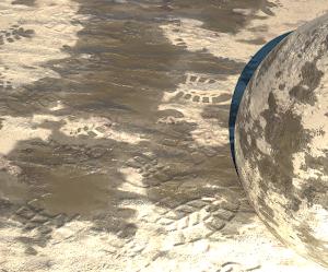 Areia molhada com pegadas - PBR