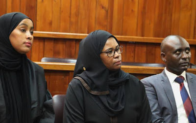 Mombasa County Finance Chief Maryam Mbaruk and her Chief Officer Aisha Abdi in the high court. PHOTO   BMS