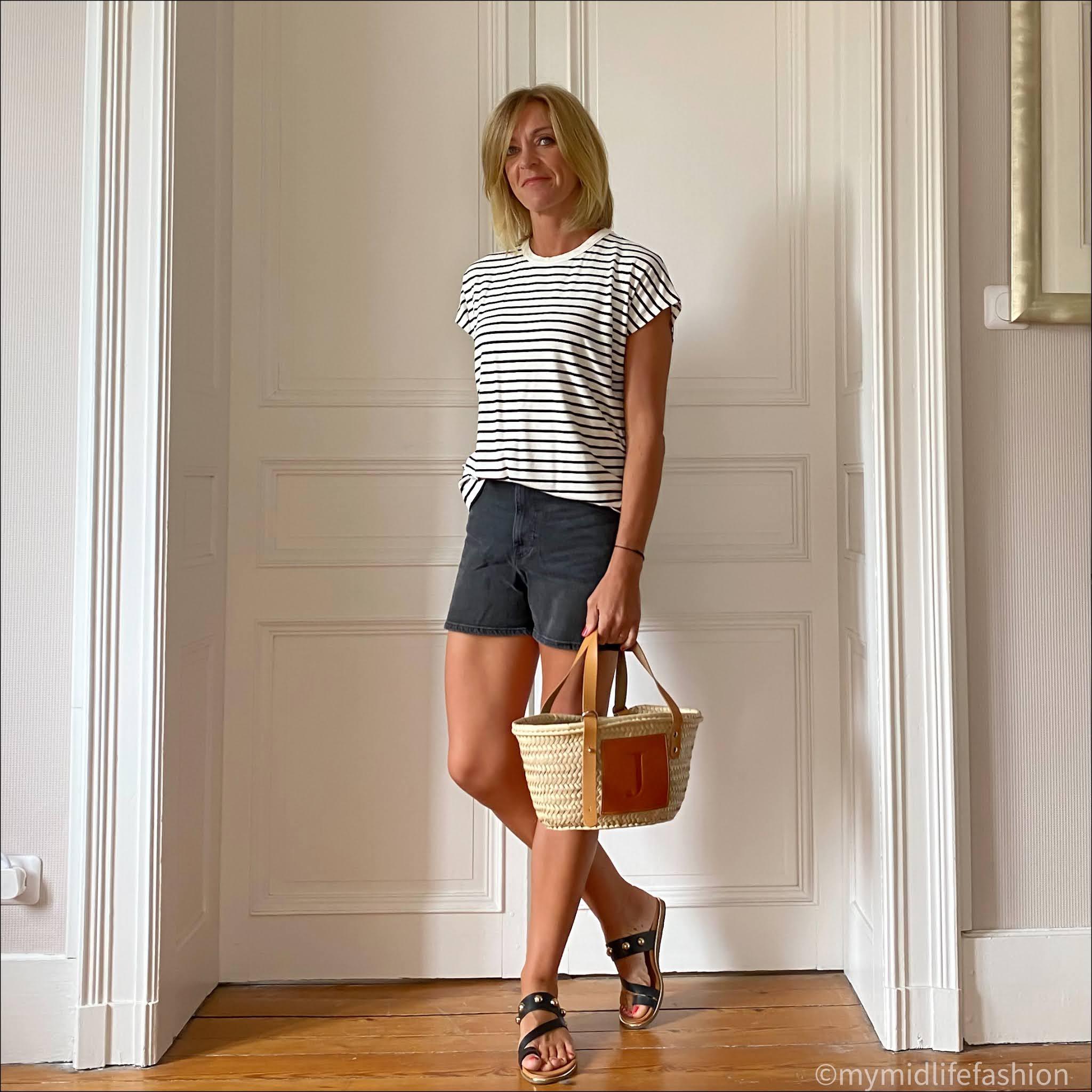 my midlife fashion, Baukjen Emmanuelle top, h and m denim shorts, carvela karafe leather sandals, small tote basket
