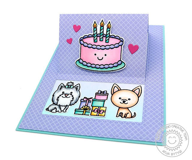 Sunny Studio Stamps: Puppy Dog Kisses Fancy Frames Dies Sliding Window Dies Happy Birthday Card by Anja Bytyqi