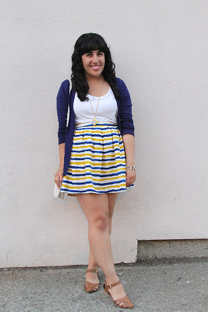 Navy Cardigan, White T Shirt and Striped Blue and Yellow Skirt