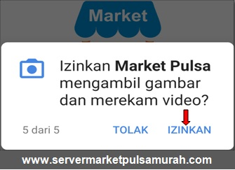 Izinkan Market Pulsa mengambil gambar dan merekam video