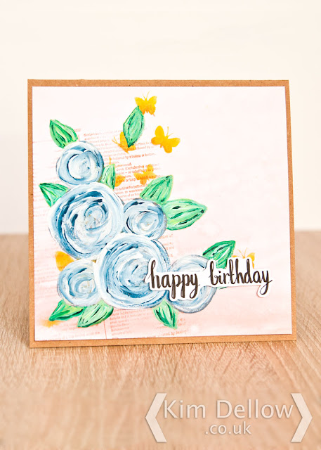 Painted Roses Birthday card